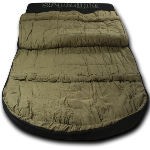 Wolftraders TwoWolves +0 Degree Fahrenheit 2-Person Premium Canvas Sleeping Bag, Black/Tan