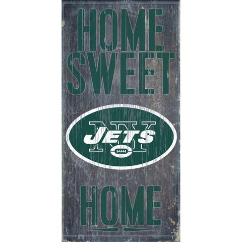 """New York Jets Wood Sign - Home Sweet Home 6""""x12"""""""