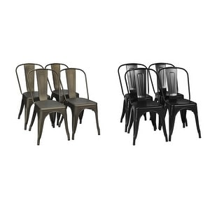 Set of 4 Dining Side Chair Stackable Bistro Cafe Metal Stool GunBlack - See details