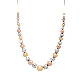 Gradient Bead Necklace in 10K Yellow & Rose Gold-Bonded Sterling Silver - three-tone