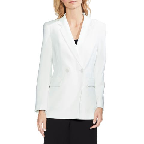 Vince Camuto Women's Blazer White 6 Double Breasted Notched Collar