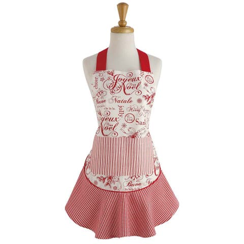 """28.5"""" Red and White Vintage Christmas Themed Ruffle Apron"""