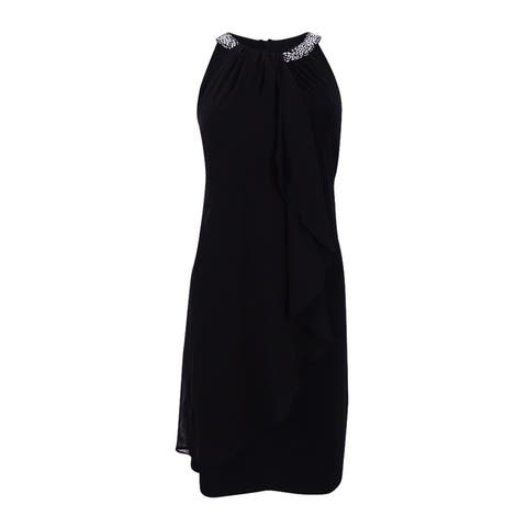 X by Xscape Women's Embellished Halter Dress (8, Black) - Black