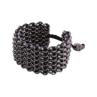 Links Women's Blue Six-Row Bracelet in Ruthenium-Plated Brass - Black