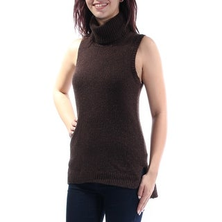 Womens Brown Sleeveless Turtle Neck Casual Vest Sweater Size M