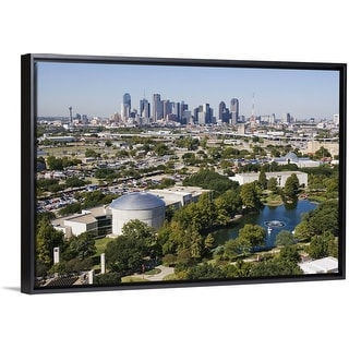 """""""IMAX Theatre and Museums in downtown Dallas, Texas"""" Black Float Frame Canvas Art"""