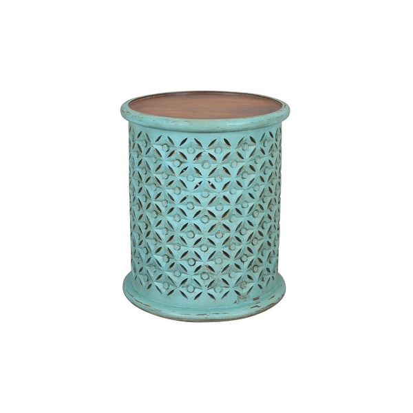 Decker Distressed Hardwood Drum End Table by Jofran. Opens flyout.