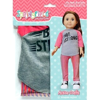 Springfield Collection Be Strong Shirt & Stripe Pants-Pink & Grey