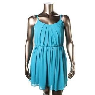 BCX Womens Juniors Scoop Neck Spaghetti Straps Casual Dress - XL
