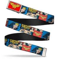 Wonder Woman Logo Fcg Red  Chrome Wonder Woman Panels Blue Webbing Web Belt