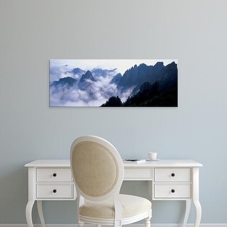 Easy Art Prints Panoramic Image 'View of misty mountains, Huangshan Mountains, Anhui Province, China' Canvas Art