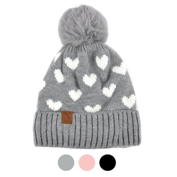 Women's Hearts and Pom Pom Knit Winter Hat. Opens flyout.