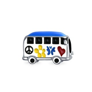 Bling Jewelry Hippie Peace Love 1960's Multicolored Enamel Bus .925 Sterling Silver