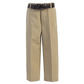 Boys Khaki Flat Front Solid Belt Special Occasion Dress Pants 8-20 (More options available)