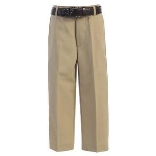 Boys Khaki Flat Front Solid Belt Special Occasion Dress Pants 8-20