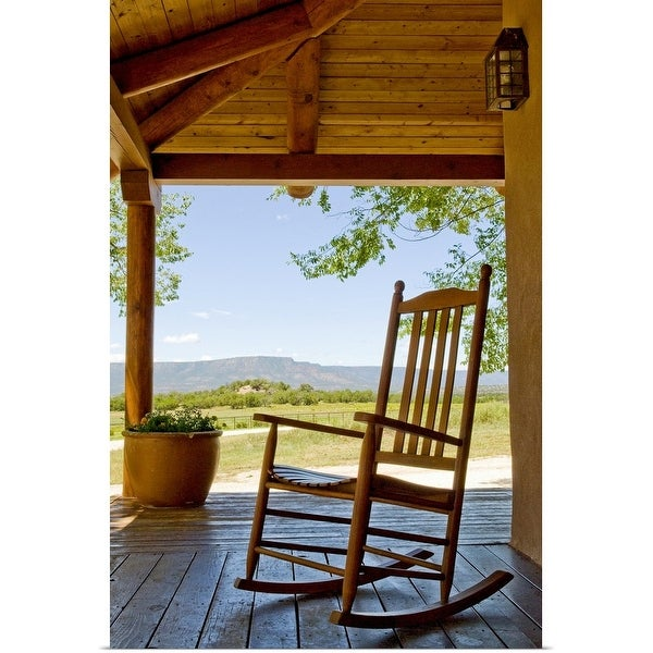 """""""Rocking chair at ranch house porch"""" Poster Print"""