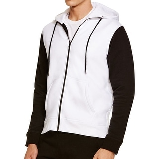 HPE NEW White Black Mens Size XL Hooded Full-Zip Colorblocked Jacket