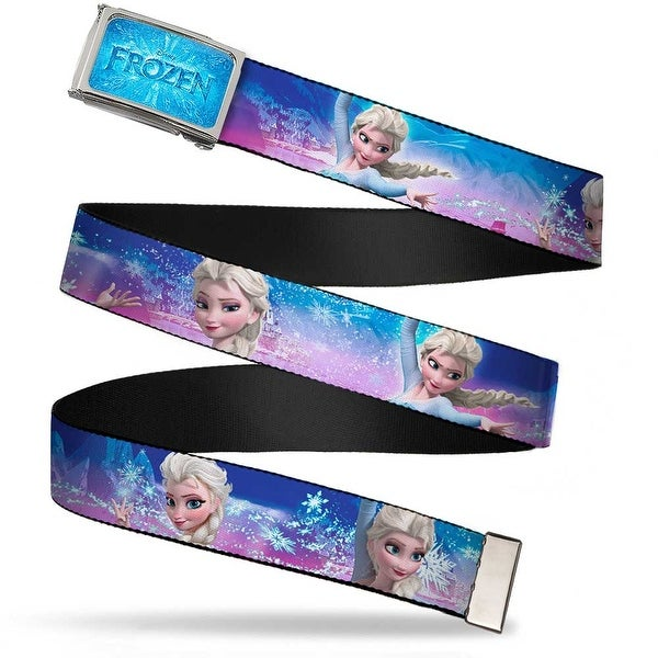 Frozen Logo Fcg Blues Chrome Elsa The Snow Queen Poses Castle & Snowy Web Belt