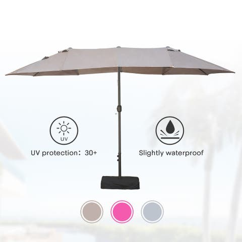 Amarantos 15ft Rectangular Patio Double Sided Outdoor Large Umbrella With Base Crank and 12 Sturdy Steel Ribs(TAUPE)