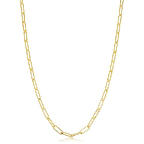 14k Solid Yellow Gold Filled 2.5 millimeter Paper Clip Capsule Link Chain Necklace for Women