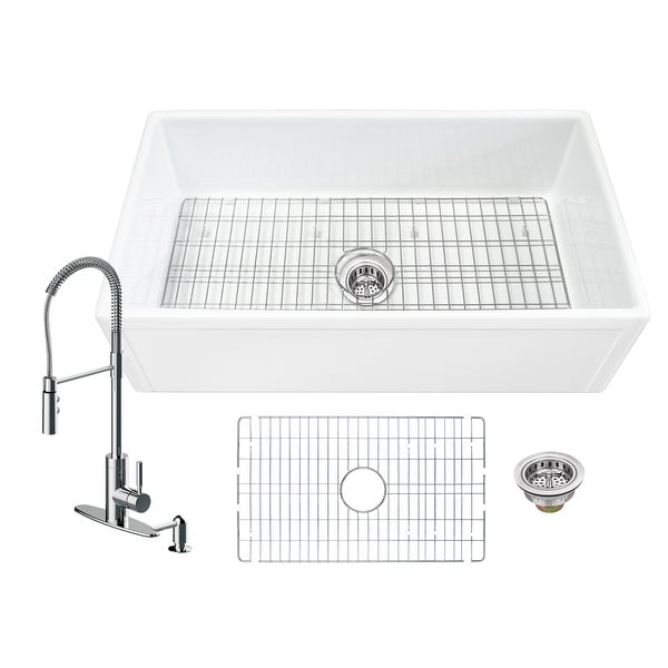Soleil All-In-One White Fireclay Picture Frame/Plain Reversible Apron Front Single Bowl Kitchen Sink with Pull Down Faucet. Opens flyout.