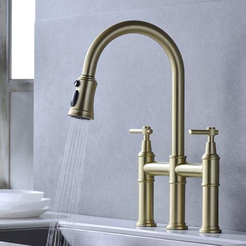 Double Handles Bridge Kitchen Faucet w/Pull Down Sprayhead Sink Faucet