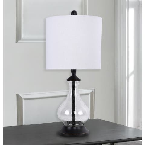 Porch & Den Kirsten Clear Seeded Glass 22-inch Accent Lamp with Off-White Linen Drum Shade