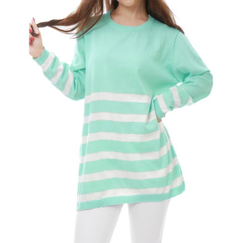 Women Long Sleeves Stripes Loose Tunic Knit Shirt
