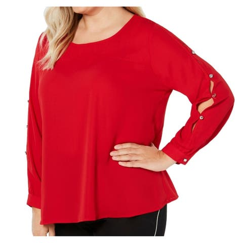 NY Collection Womens Blouse Bright Red Size 3X Plus Button Up Sleeve