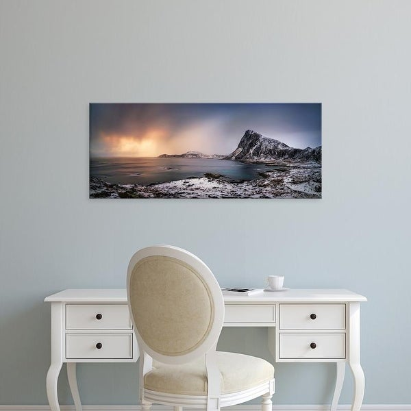 Easy Art Prints Panoramic Images's 'Scenic view of coastline, Flaget Bay, Lofoten, Nordland County, Norway' Canvas Art