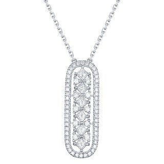 Prism Jewel 0.49Ct G-H/SI1 & I1 Round & Princess Natural Diamond Oval Shape Necklace