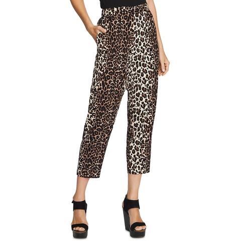 Vince Camuto Womens Pants High Rise Leopard Print - Rich Black