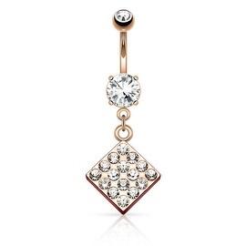 Gem Paved Box Diamond Dangle Navel Ring (Sold Individually)