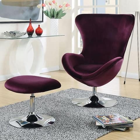 Shelia Purple Scoop Accent Chair with Ottoman