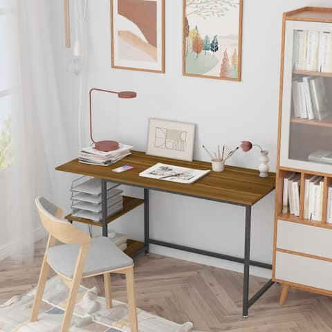 Teraves Ergonomic Interchangeable Panels Wood Desk with S-Shaped Bookshelves Metal Frame Writing Learning Gaming Study Table