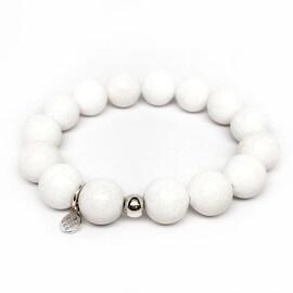 White Jade 'Classic Stone' stretch bracelet Sterling Silver