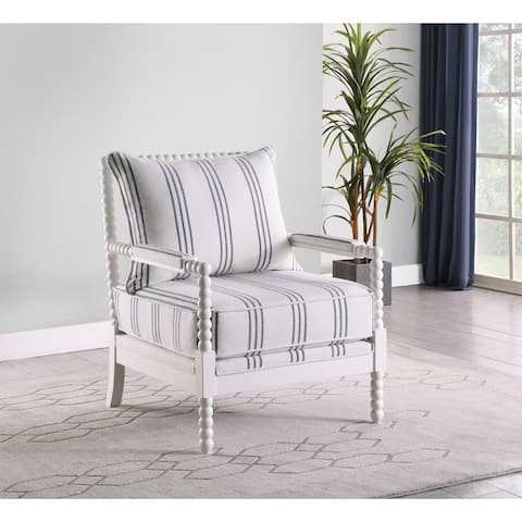 Penelopina White and Navy Upholstered Stripe Accent Chair