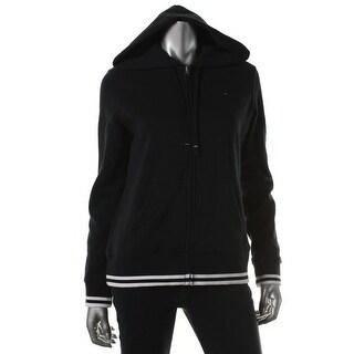 Tommy Hilfiger Womens Fleece Contrast Trim Hoodie