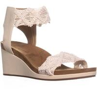 Lucky Brand Kierlo Ankle Strap Wedge Sandals, Linen