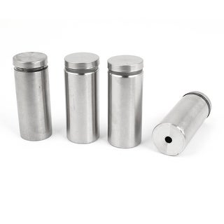 Unique Bargains 4 x Stainless Steel Advertising Screw Nail Glass Wall Connector Standoff 25x60mm
