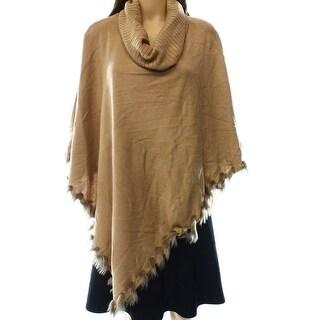 Alfani NEW Brown Womens Size Medium M Faux Fur Cowl Neck Poncho Sweater