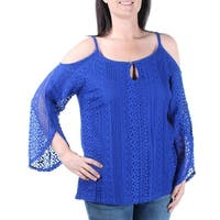 INC Womens Blue Long Sleeve Keyhole Top  Size: L