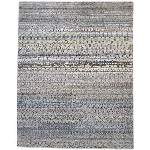 One of a Kind Hand-Knotted Modern 8' x 10' Abstract Wool Grey Rug - 8' x 10'