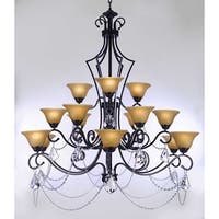 Swarovski Crystal Trimmed Wrought Iron Chandelier Lighting With Crystal