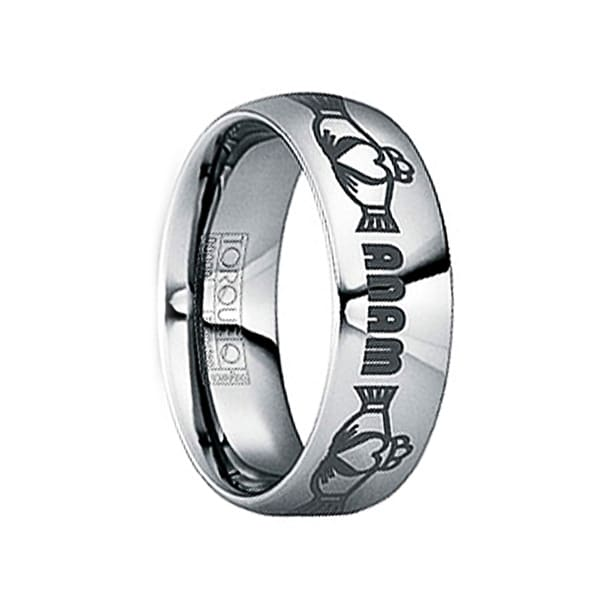 """GORDIANUS Tungsten Carbide Ring with Engraved Claddagh & """"Anam"""" Monogram by Crown Ring"""