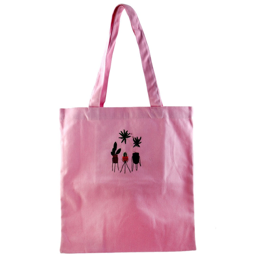 Travel Cosmetic Clothes Holder Sundries Storage Embroidery Potted Plants Handbag Single Shoulder Canvas Tote Bag Pink