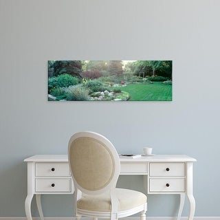 Easy Art Prints Panoramic Images's 'Plants In A Garden, Backyard Suburban Garden, Illinois, USA' Premium Canvas Art