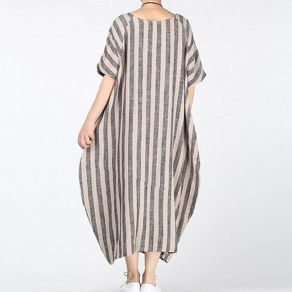 Womens Loose Striped Cotton Linen Dress Casual Kaftan Vintage Boho Sleeveless A-Line Maxi Dress with Side Pockets