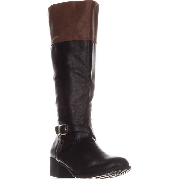 SC35 Venesa Wide Calf Riding Boots, Black/Brown