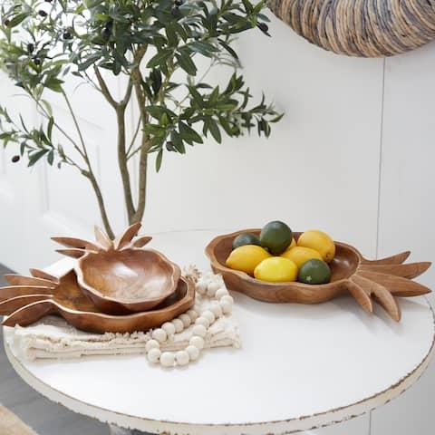 Brown Teak wood Natural Decorative Bowl (Set of 3) - 7 x 12 x 2